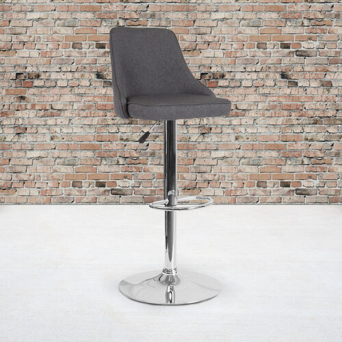 Trieste Contemporary Adjustable Height Barstool in Dark Gray Fabric