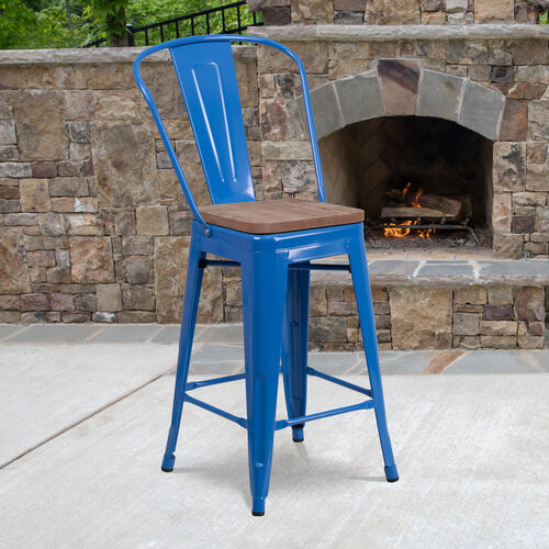 "Our 24"" High Blue Metal Counter Height Stool with Back and Wood Seat is on sale now."