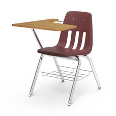 9000 Series Student Combo Desk with Right Handed Medium Oak Laminate Tablet Arm, Chrome Frame, and Wine Chair - 20