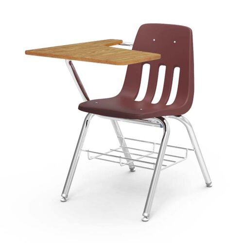 Our 9000 Series Student Combo Desk with Right Handed Medium Oak Laminate Tablet Arm, Chrome Frame, and Wine Chair - 20
