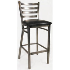 White Horse Ladder Back Armless Barstool with Steel Frame and Vinyl Seat