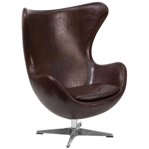Our Brown Leather Egg Chair with Tilt-Lock Mechanism is on sale now.