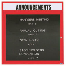 1 Door Outdoor Enclosed Directory Board with Header and Red Anodized Aluminum Frame - 36