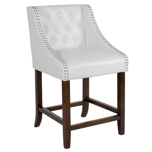 "Our Carmel Series 24"" High Transitional Tufted Walnut Counter Height Stool with Accent Nail Trim in White Leather is on sale now."