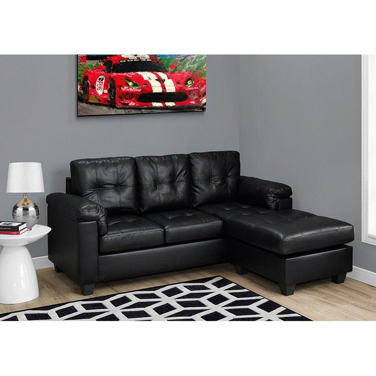 Monarch specialties cushioned bonded leather sofa with for Bonded leather sectional sofa with chaise