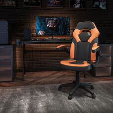 BlackArc X10 Gaming Chair Racing Office Ergonomic Computer PC Adjustable Swivel Chair with Flip-up Arms, Orange/Black LeatherSoft