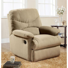 Arcadia Transitional Style Microfiber Glider Recliner with Hand Latch - Beige