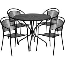 "Commercial Grade 35.25"" Round Black Indoor-Outdoor Steel Patio Table Set with 4 Round Back Chairs"