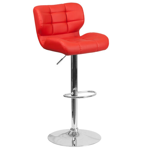 Our Contemporary Tufted Red Vinyl Adjustable Height Barstool with Chrome Base is on sale now.