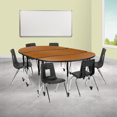 """Mobile 86"""" Oval Wave Collaborative Laminate Activity Table Set with 16"""" Student Stack Chairs, Oak/Black"""