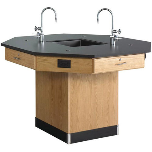 Octagonal Science Wooden Workstation with 1