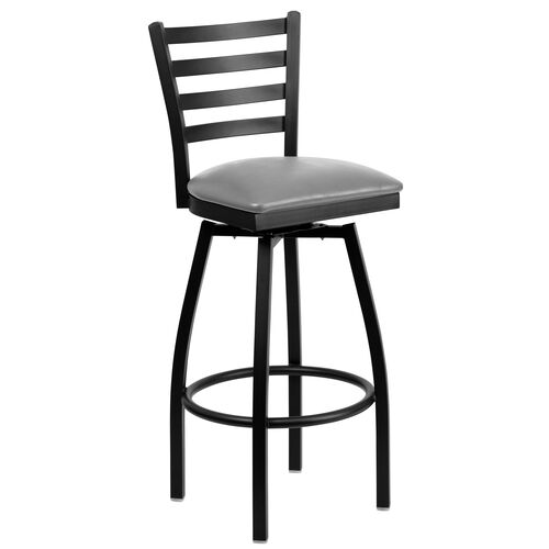 Our Black Metal Ladder Back Restaurant Barstool with Custom Upholstered Swivel Seat is on sale now.