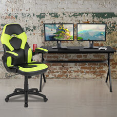 BlackArc Black Gaming Desk and Green/Black Racing Chair Set with Cup Holder, Headphone Hook and Removable Mouse Pad Top - 2 Wire Management Holes
