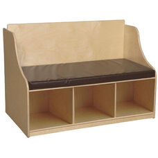 Wooden Reading Bench with Storage Compartments and 2