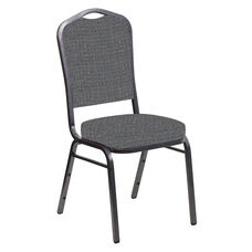 Embroidered Crown Back Banquet Chair in Interweave Earth Fabric - Silver Vein Frame