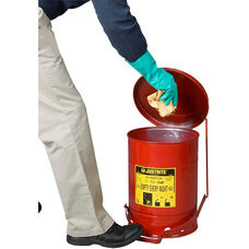 6 Gallon Steel Foot-Operated Oily Waste Can - Red