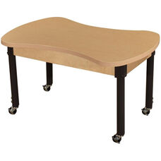 Mobile Synergy Classroom High Pressure Laminate Desk with Adjustable Steel Legs - 36