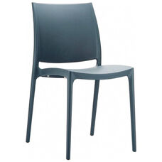Maya Outdoor Polypropylene Stackable Dining Chair - Dark Gray