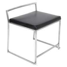 Fuji Extra Wide Armless Dining Chair with Stainless Steel Base and Low Profile Back - Set of 2 - Black