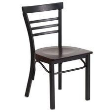 HERCULES Series Black Three-Slat Ladder Back Metal Restaurant Chair - Walnut Wood Seat