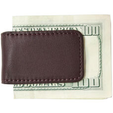 Magnetic Money Clip - Top Grain Nappa Leather with Suede Lining - Burgundy