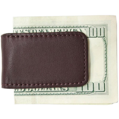 Our Magnetic Money Clip - Top Grain Nappa Leather with Suede Lining - Burgundy is on sale now.