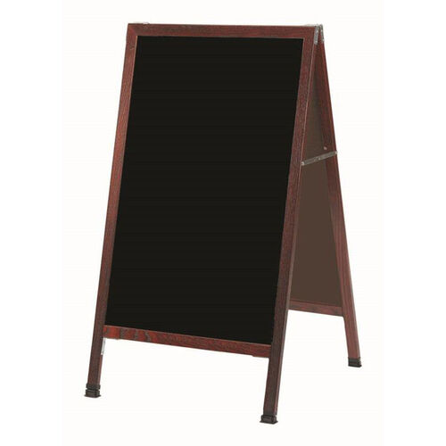 Our A-Frame Sidewalk Black Melamine Marker Board with Cherry Stained Solid Red Oak Frame - 42