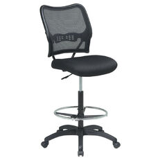 Space Air Grid Back & Mesh Seat Drafting Chair with Built-In Lumbar Support and Adjustable Chrome Footring - Black