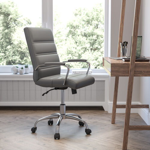 Mid-Back Gray LeatherSoft Executive Swivel Office Chair with Chrome Frame and Arms