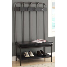 Metal Entry Bench with Four Double Coat Hooks - Charcoal