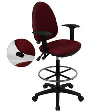 Mid-Back Burgundy Fabric Multifunction Ergonomic Drafting Chair with Adjustable Lumbar Support and Adjustable Arms