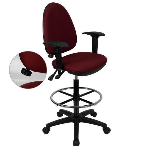 Our Mid-Back Burgundy Fabric Multifunction Ergonomic Drafting Chair with Adjustable Lumbar Support and Adjustable Arms is on sale now.