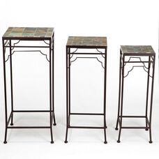 Iron Plant Stand Tables with Mosaic Top - Set of 3