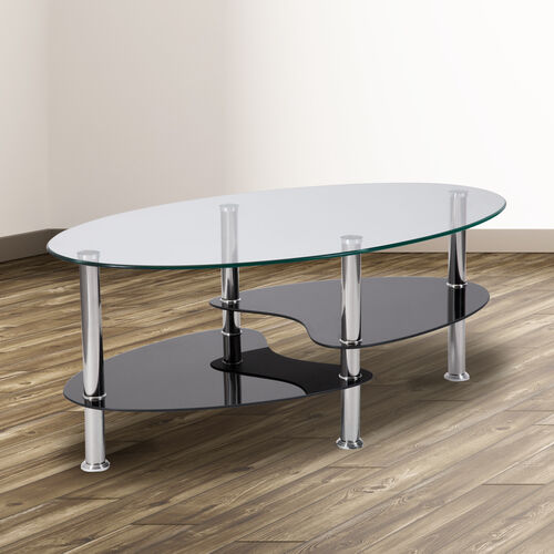 Hampden Glass Coffee Table with Black Glass Shelves and Stainless Steel Legs