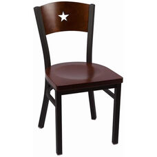 Liberty Series Wood Back Armless Chair with Steel Frame and Wood Seat - Walnut
