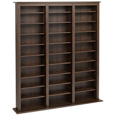 Triple Width Barrister Tower with 27 Adjustable Shelves - Espresso