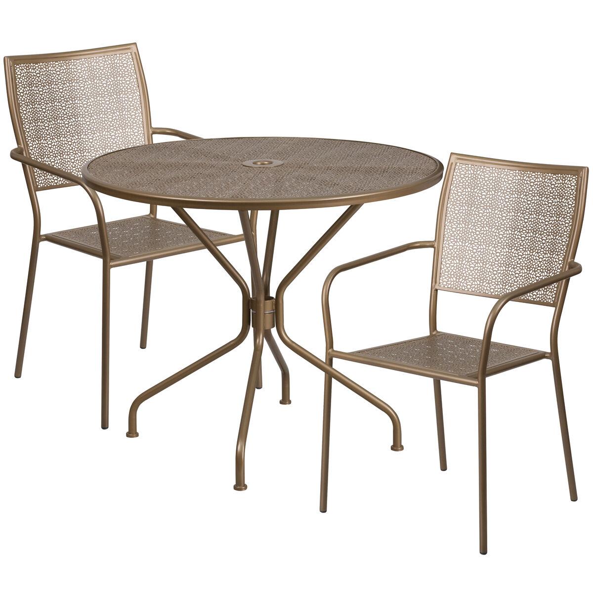 Flash furniture round gold indoor outdoor steel for Furniture 35