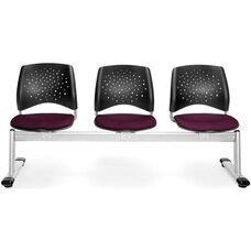 Stars 3-Beam Seating with 3 Fabric Seats - Burgundy