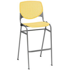 2300 KOOL Series Stacking Poly Armless Barstool with Perforated Back and Silver Frame - Yellow