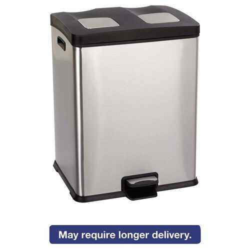 Our Safco® Right-Size Recycling Station - Rectangular - Steel/Plastic - 15gal - Stainless/Blk is on sale now.