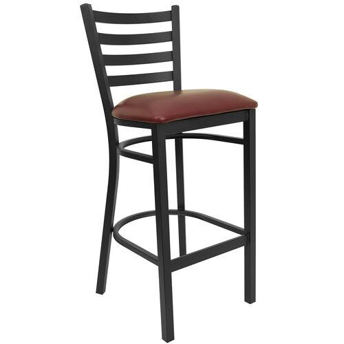 Our HERCULES Series Black Ladder Back Metal Restaurant Barstool - Burgundy Vinyl Seat is on sale now.