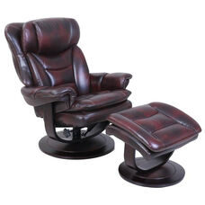 Roscoe Leather Match Pedestal Recliner with Ottoman - Plymouth Mahogany