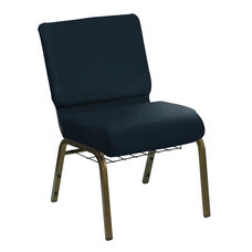 Embroidered HERCULES Series 21''W Church Chair in E-Z Sierra Royal Vinyl with Book Rack - Gold Vein Frame