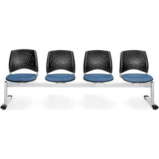 Stars 4-Beam Seating with 4 Fabric Seats - Cornflower Blue