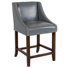 "Carmel Series 24"" High Transitional Walnut Counter Height Stool with Accent Nail Trim in Light Gray LeatherSoft"