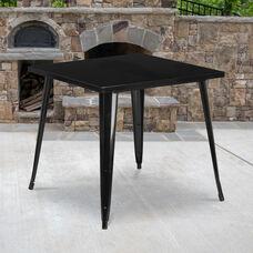 "Commercial Grade 31.75"" Square Black Metal Indoor-Outdoor Table"