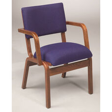 Stained Red Oak Narrow Width Upholstered Guest Chair with Arms