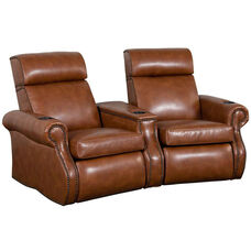 Bradford Two Seater Home Theater - Wedge Arm in Bonded Leather