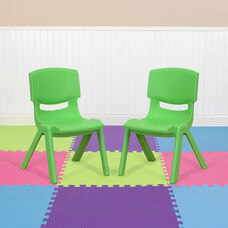 2 Pack Green Plastic Stackable School Chair with 10.5