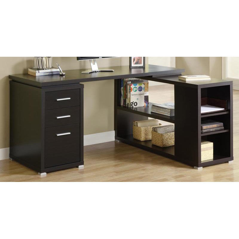 ... Our L Shaped Left Or Right Facing Home Office Desk With Open Shelves    Cappuccino